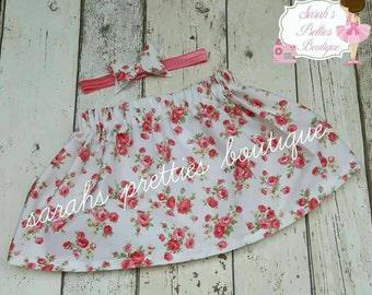 6-12 mths floral skirt and matching headband