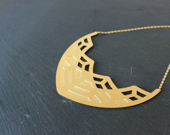 Plastron Edmée brass gilded art deco geometric necklace