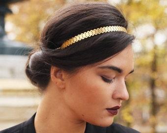 Headband wedding romantic geometric architecture Golden brass you miss