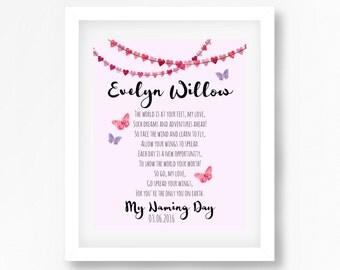 Naming Ceremony Gift, Naming Day Gift, Namind Day Poem, Baptism Gift for Goddaughter, Christening Print, Personalised Gift for Baby Girl