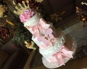 Princess diaper cake/Princess baby shower centerpiece/Girl baby shower centerpiece/Gift/Baby Girl diaper cake/Gorl hospital gift