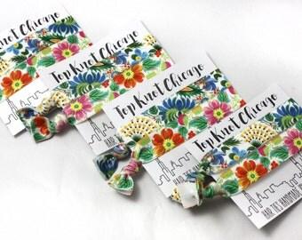 Tropical Flower - Blue Floral - Vintage Floral - Hair Tie Bracelet - Womens Accessories - Hair Ties- Tropical Print - Creaseless Hair Ties