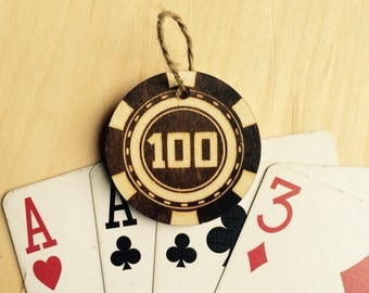 Poker chip gift tag 100 design- poker night party favor or gift tag