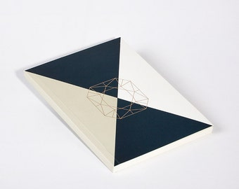 Modern Notebook Beige Diamond Flanders Cut with Gold Foil
