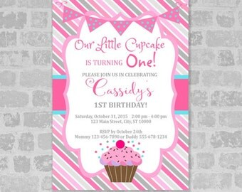 Little Cupcake Invitation, Ist Birthday Or Any Age Printable Pink Cupcakes Birthday Party Invitation, Digital or Printed