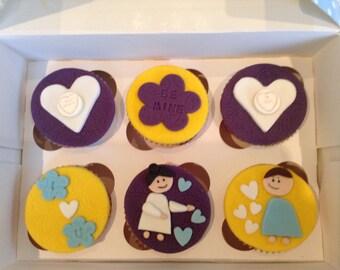 Handmade love heart fondant cake toppers - 6