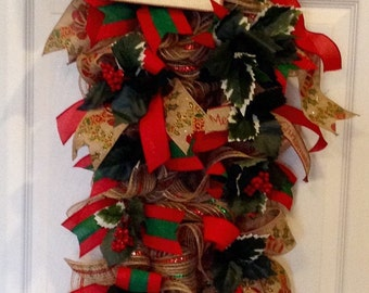 Christmas Burlap Swag, Christmas Wreath, Holiday Swag, Christmas Holiday Decor, Burlap Swag Wreath with Holly, Traditional Christmas Decor