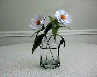 Handmade Paper Zinnias in Glass Jar