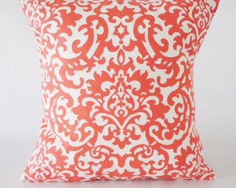 Damask Coral Pillow Cover,  Damask pillow, decorative pillow cover, throw pillow, pillow, home decor, bedding