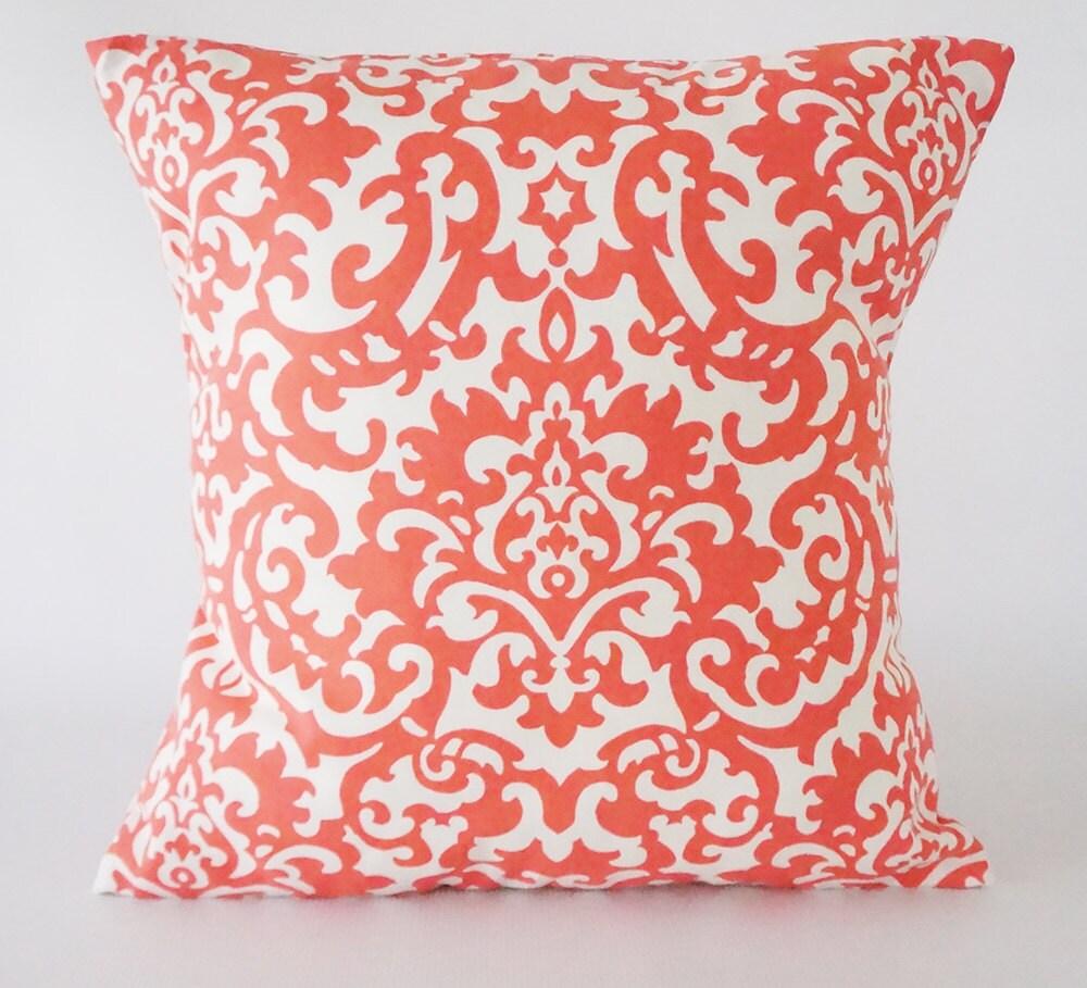 Throw Pillows Damask : Damask Coral Pillow Cover Damask pillow decorative pillow