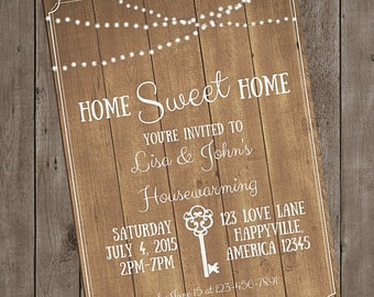Rustic Housewarming Party Invitation Printable Custom Personalized