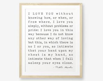 Pablo Neruda Quote Printable, Bedroom Decor, Love Quote, Wedding Anniversary Gift, Newlywed Decor, Typewriter font, Retro printable