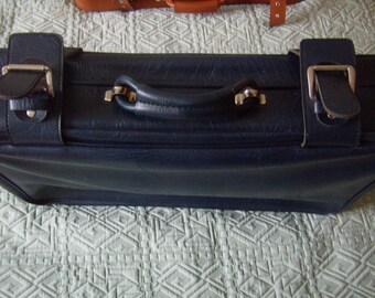 French Navy Blue faux leather vintage suitcase, retro luggage, suitcase storage, display, Vintage 80's