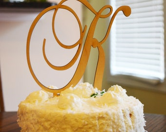 "Single Initial Wedding Cake Topper-- 5"" Script - UNFINISHED"