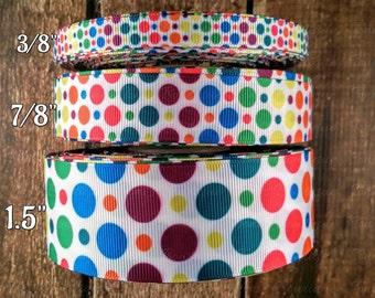 fun bright dots print Grosgrain Ribbon, Ribbon by the Yard, craft supply, hairbow supply, lanyard supply, dog collar supply