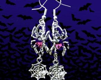 50% SALE Halloween Jewelry..Spider Web Earrings..Purple Spider Earrings..Silver Spider Earrings..Spider Costume Earrings..Purple Earrings