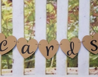 Small Heart Cards Banner, Small Wedding Heart Shaped Cards Sign, Wedding Decor, Cards Sign, Heart Cards Sign, Heart Cards Banner