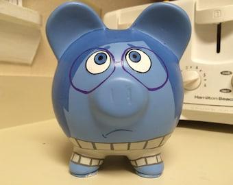 READY TO SHIP Inside Out Sadness Hand Painted Ceramic Piggy Bank Medium