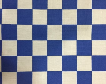 Blue Checkered Print Poly Cotton Print Fabric - Sold By The Yard -  59""