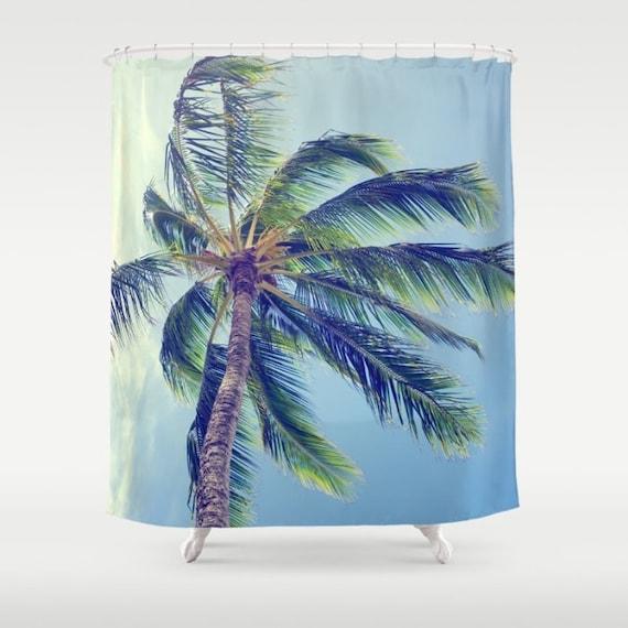 ... shower curtain, Palm trees bathroom, beach shower curtain, Hawaiian
