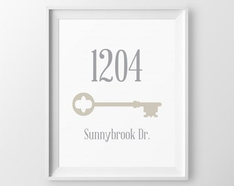 Personalized Home Address Sign First Apartment House Warming Gift Skeleton Key Foyer Decor House Sign New Home Gift First Home Gift