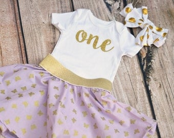 Gold and Purple Birthday Outfit - 1st 2nd 3rd 4th 5th 6th 7th 8th 9th Birthday Shirt - Optional Bow and Butterfly Skirt - Baby Toddler Girls
