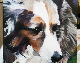 Custom Pet Portrait Acrylic Painting on Canvas