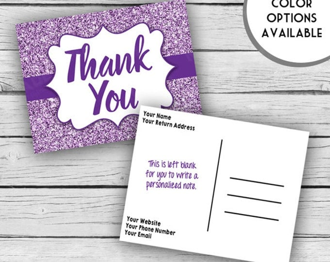 Printed Double-Sided GLITTER THANK YOU Post Card Set, Motivational Cards, Positive Inspiration, Printed Thank You Cards, Stationery