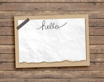 3.5 x 5 Hello Note Card. Just Because. Instant Download. Digital.