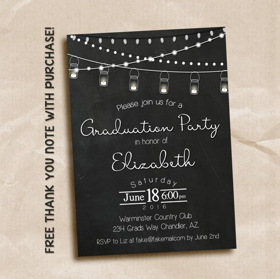 Chalkboard Mason Jar graduation invitation / printable invitation