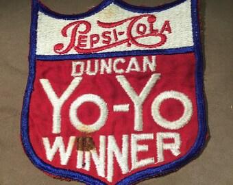 """Vintage 1950s Pepsi-Cola Duncan Yo-Yo Winner patch ~ 5 3/4"""" x 5"""""""
