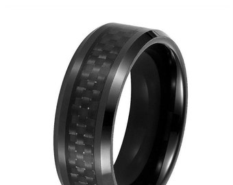 Tungsten Carbide Carbon Fiber Wedding Band