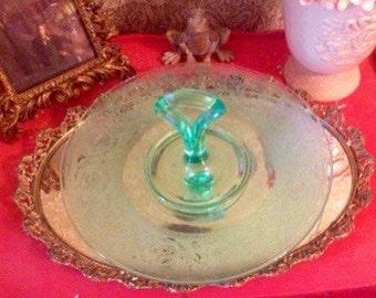 Antique Turqouise Deppression Glass Tea Sandwich Cookie Server
