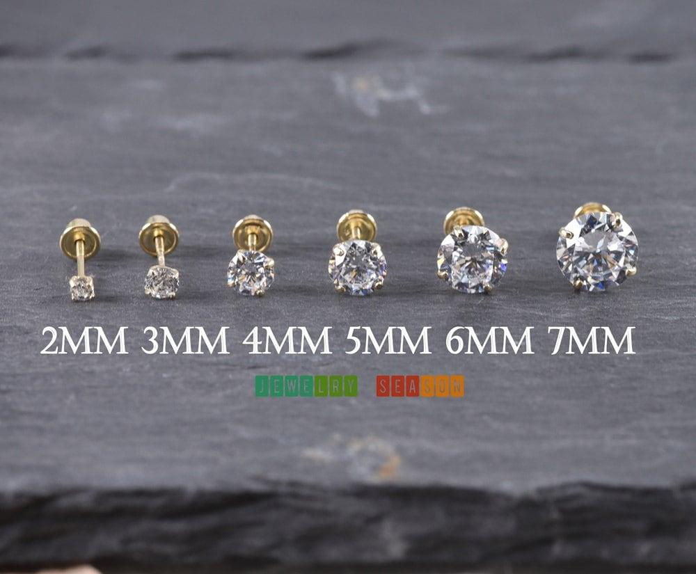Solid 14k Yellow Gold Stud Screw Back Earrings 2mm 3mm 4mm 5mm 6mm 7mm  Yellow Gold