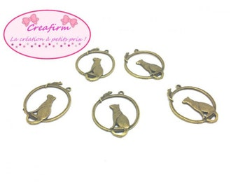 20 charms Bronze cat and mouse