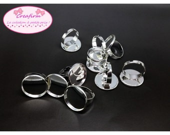 10 media rings silver plate 20mm