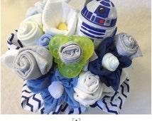 Star Wars Baby Shower Gift Basket/Bouquet - R2-D2 Baby Shower Onesie Bouquet Centerpiece for Boy - Star Wars: Yoda, Chewbaca, R2-D2 and othe