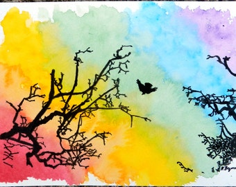 Rainbow, Bird and Branches - 6x9 Original Watercolor Painting