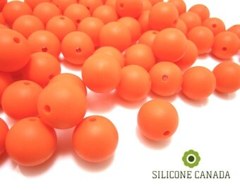 12mm - Lot of 10 Orange Silicone Beads
