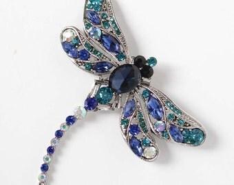 Blue Dragonfly Brooch, Rhinestone Dragonfly Broach, Bridal Something Blue, Blue Bouquet Pins, Crystal Royal Blue Teal Blue Broaches