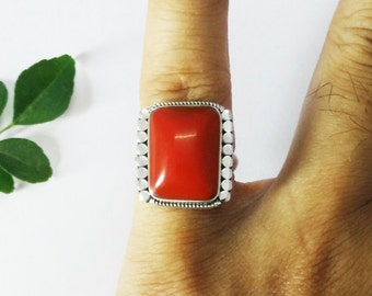 Gorgeous RED CORAL Gemstone Ring, Birthstone Ring, 925 Sterling Silver Ring, Artisan Handmade Ring, Fashion Ring, All Size, Gift Ring