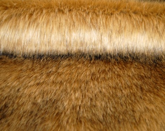 Luxurious FAUX FUR fabric, COYOTE, deep pile, by yard