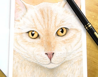 Orange Tabby Cat Card - Ginger Cat Card, Marmalade Cat Card, Orange Watercolor cat greeting card, Orange Marmalade Ginger Tabby Cat Card