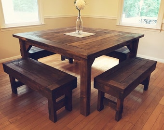 Square Farmhouse Table and 4 benches