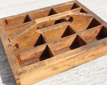 Rustic Old Wooden Tool Box, Carpenter's Wood Tray or Tote with Handle, Wooden Handle- Farmhouse Style