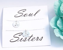 Soul Sisters necklace - Sterling silver intial necklace - Best friend gift -Best friend necklace - Sister necklace - Arrow necklace