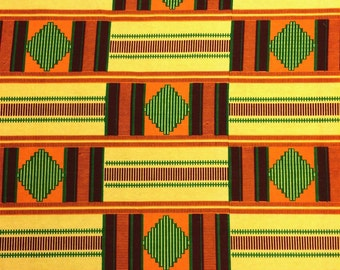 Kente African Print Fabric Cotton Print 44'' wide By The Yard (19001-1)