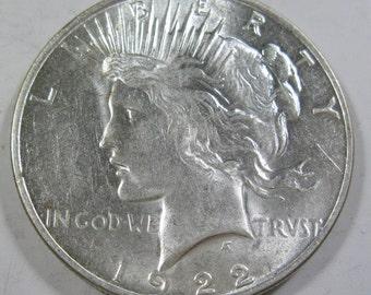 1922 D silver Peace dollar coin grades MS60! (#E18d)
