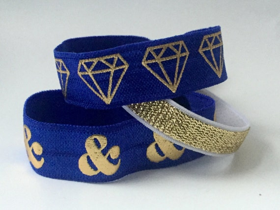 Royal Blue with Gold Diamonds Hair Tie Set