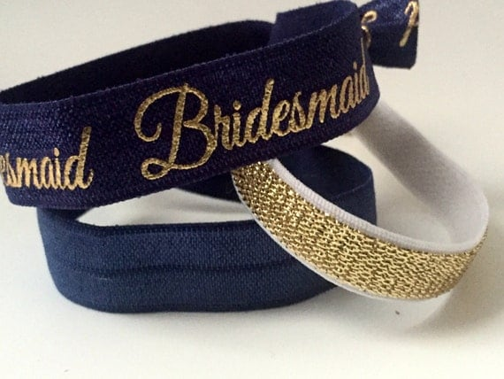 Navy and Gold Bridemaid Hair Tie Set